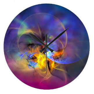 Wendy - arte abstracto digital colorido reloj redondo grande