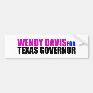 Wendy Davis para el gobernador de Tejas Pegatina De Parachoque