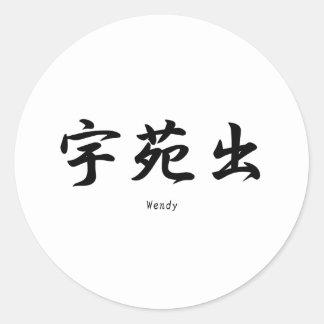 Wendy tradujo a símbolos japoneses del kanji etiqueta redonda
