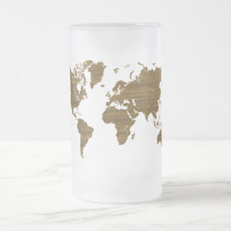 Wenge World map Frosted Glass Beer Mug