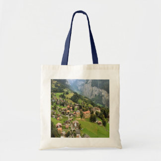 Wengen, a mountain village tote bag