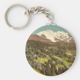 Wengen, pensión Lauerner y Jungfrau, Bernese Obe Llavero Redondo Tipo Pin