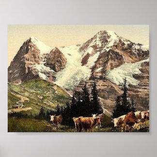 Wengern, Monch y Eiger, Bernese Oberland, Switze Póster