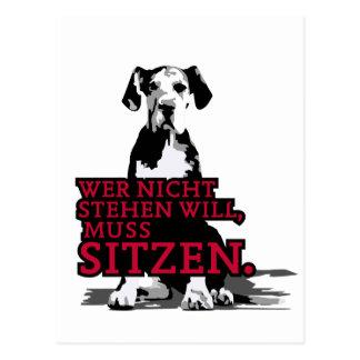 Wer nicht stehen will Doggenwelpe Postcard