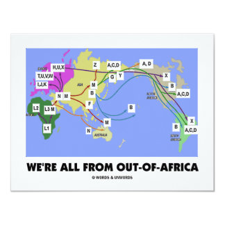 """We're All From Out-Of-Africa (Haplogroup) 4.25"""" X 5.5"""" Invitation Card"""