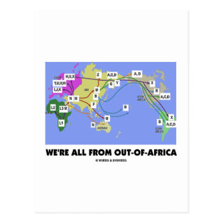 We're All From Out-Of-Africa (Haplogroup) Postcard