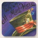"Were All Mad Here Coaster Alice in Wonderland<br><div class=""desc"">We&#39;re All Mad Here! This adorable set of 6 coasters features a charming Mad Hatter&#39;s hat and quote from Alice in Wonderland. Painted &amp; designed by artist Deanna Davoli. It will make a lovely set coasters for a the Wonderland fan in you ;) All Images Copyright Deanna Davoli - Davoli...</div>"