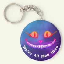 We're All Mad Here Purple Cheshire Cat Wonderland Keychain