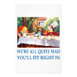 WE'RE ALL  QUITE MAD STATIONERY DESIGN
