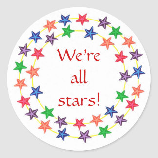 We're all stars! stickers, with colorful stars