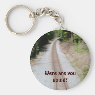 Were are you going? basic round button keychain