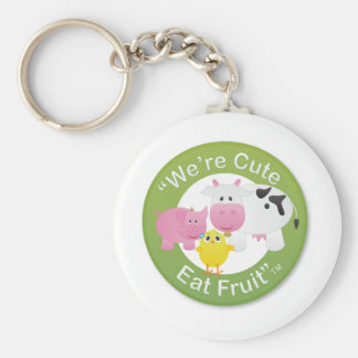 We're Cute, Eat Fruit Basic Round Button Keychain