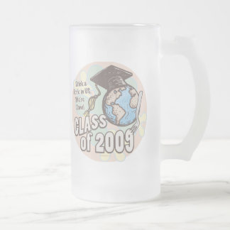 We're Done 2009 Graduation Shirt Gifts Frosted Glass Beer Mug