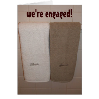 """""""we're engaged!"""" announcement greeting cards"""