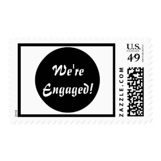 We're Engaged! Blk and White Postage Stamp