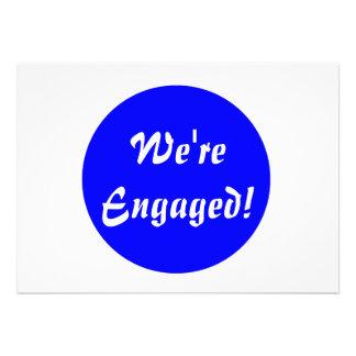 We're Engaged! Blue and White Invitation