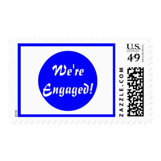 We're Engaged! Blue and White Postage Stamps