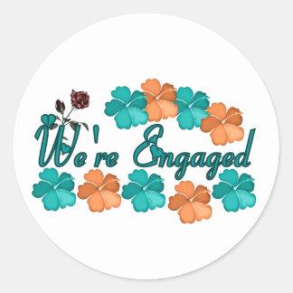 Were Engaged Classic Round Sticker