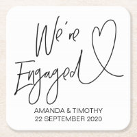 We're Engaged Engagement Party Coasters Decor
