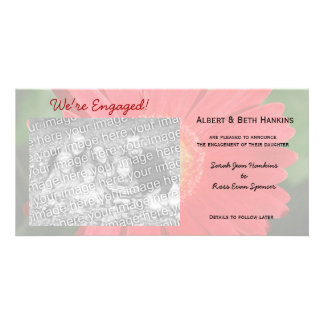 We're Engaged Gerbera Daisy Photo Cards