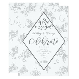 We're engaged gray flower party invitation