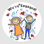 We're Engaged I     Round Sticker