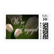 We're Engaged Peach Tulip Engagement Announcement Postage