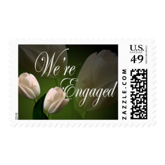 We're Engaged Peach Tulip Engagement Announcement Stamp