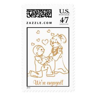 We're engaged! Postage Stamp