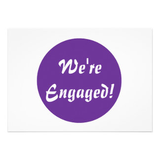 We're Engaged! Purple and White Personalized Invitations