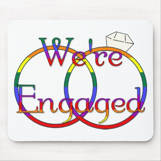 We're Engaged Rainbow Mouse Pad