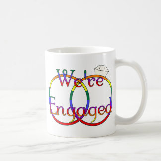 We're Engaged Rainbow Wedding Rings Coffee Mug
