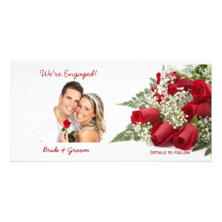 We're Engaged Red Roses Photo Cards