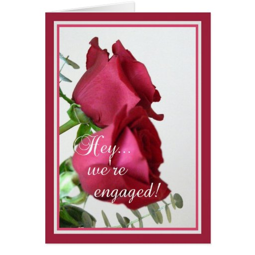 We're Engaged! -Red Roses with Quote Cards
