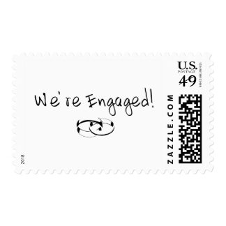 We're Engaged (Rings) Postage Stamp