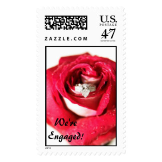 We're Engaged! Rose with Ring Postage