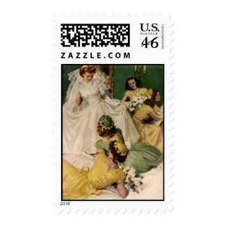 We're Engaged Vintage Wedding stamp
