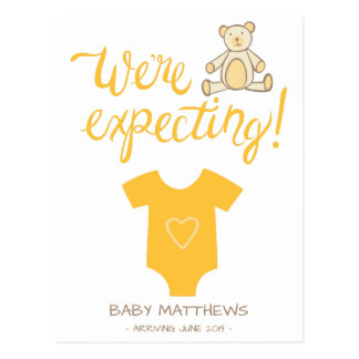 We're Expecting Bear Baby Announcement Postcard