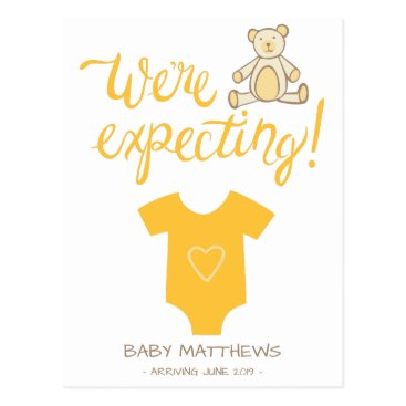 baby,or,expecting We're Expecting Bear Baby Announcement Postcard