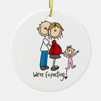 We're Expecting Couple with Toddler Girl Ornament
