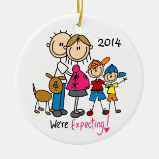 We're Expecting Couple with Two Boys/Dog Ornament
