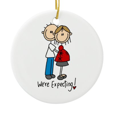 Expecting Couple Ornament Pregnant Mom and Dad - Pregnancy