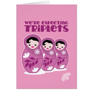 We're Expecting TRIPLETS 3 babushka dolls Card