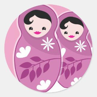 We're Expecting TRIPLETS 3 babushka dolls Classic Round Sticker