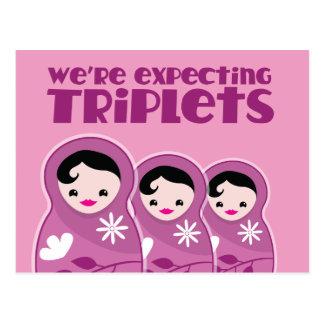 We're Expecting TRIPLETS 3 babushka dolls Postcard