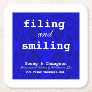 We're Filing and Smiling at Young & Thompson! Square Paper Coaster