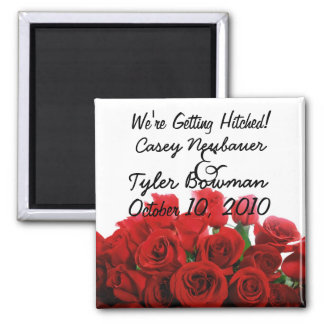 We're Getting Hitched! 2 Inch Square Magnet