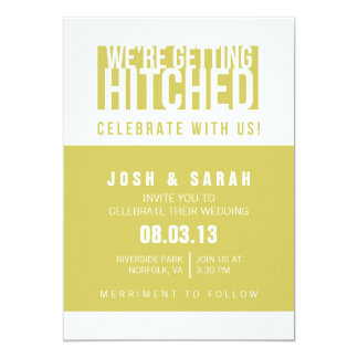 We're Getting Hitched Funny Invitation in Yellow