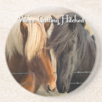 We're Getting Hitched (Two Horses) Drink Coaster