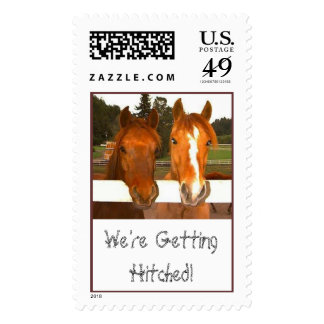 We're Getting Hitched! - wedding postage stamps